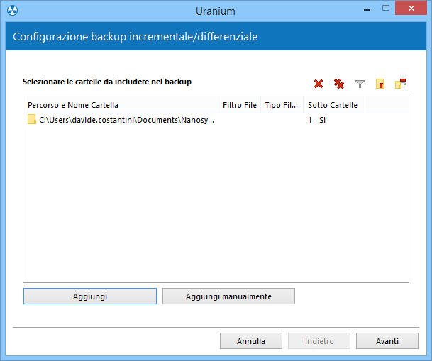 2. Configurare il backup incrementale o differenziale di file e cartelle