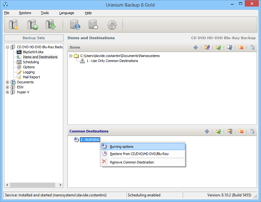 1. Configuring a backup to CD/DVD