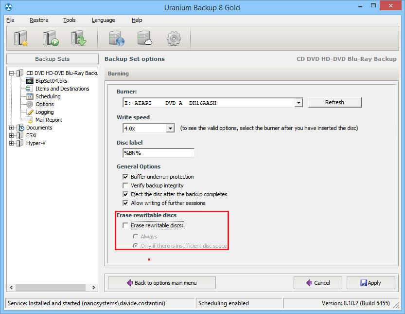 1. Configurare un backup su CD/DVD