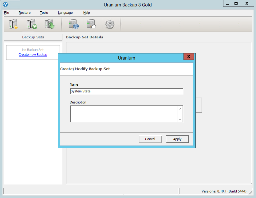 2. Configurare un backup del System State