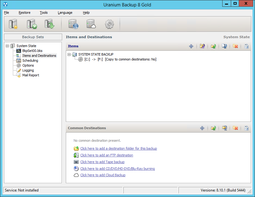 2. Configuring a system state backup