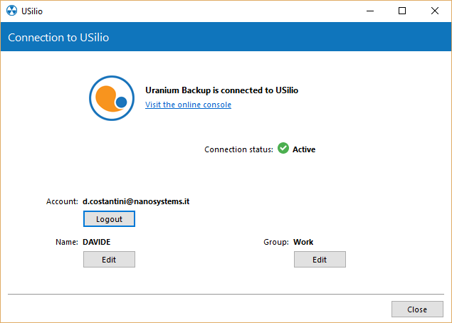1. Connecting an uranium backup client to usilio