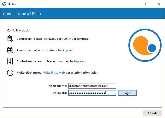 1. Connettere un client Uranium Backup ad USilio