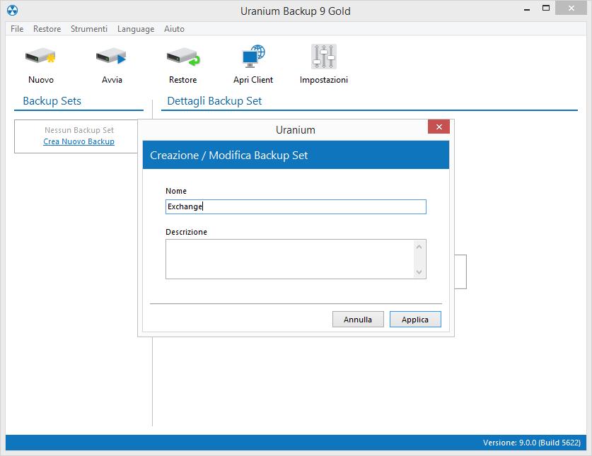 1. Configurare un backup di cassette di posta Microsoft Exchange