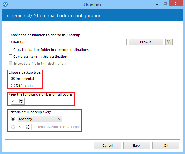 2. Configuring a files and folders incremetal or differential backup