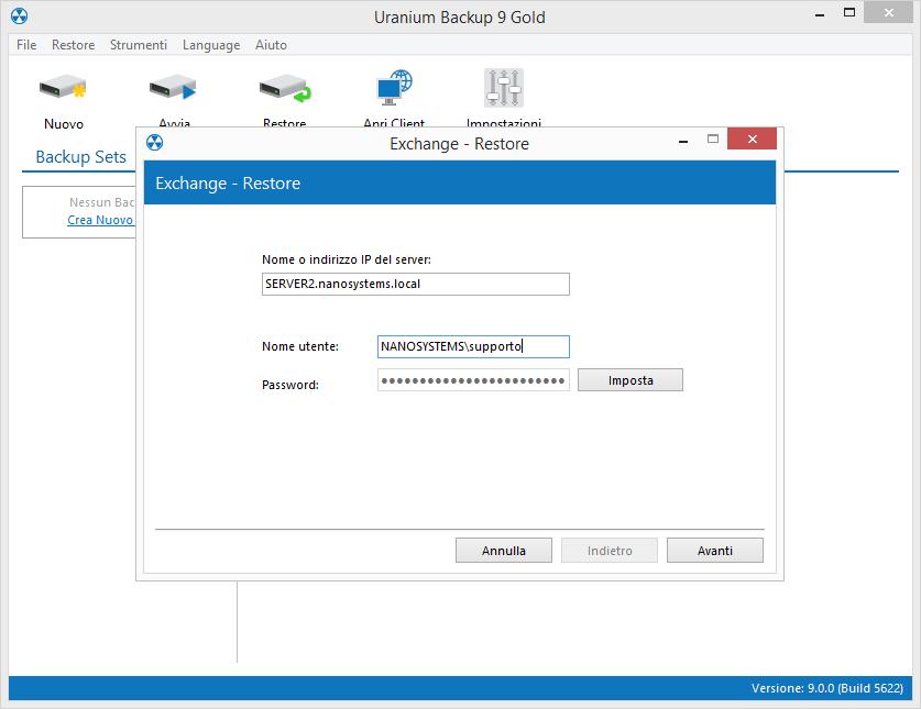 2. Eseguire il restore di una cassetta di posta Microsoft Exchange