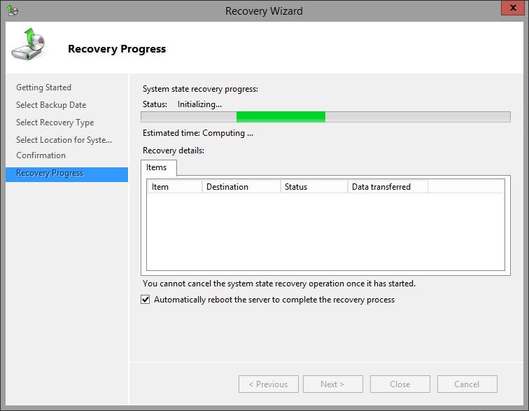 4. Cómo restaurar desde una copia de seguridad de los datos de estado del sistema