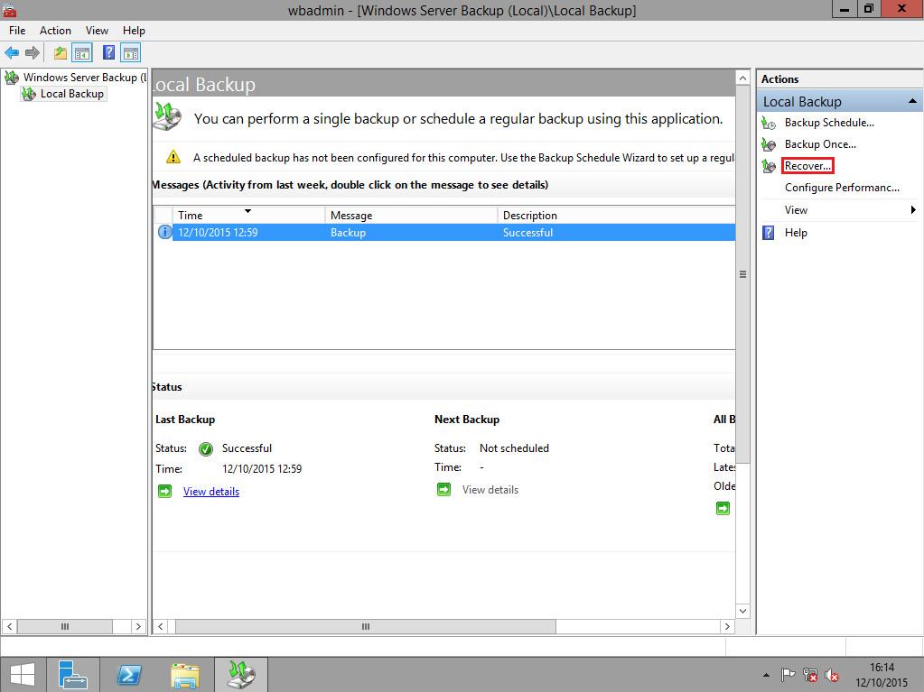 4. Eseguire il restore di un backup del System State