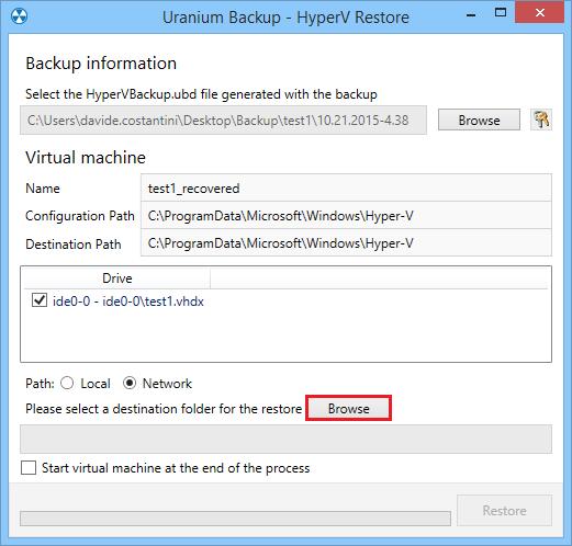 6. Eseguire il restore di macchine virtuali Hyper-V