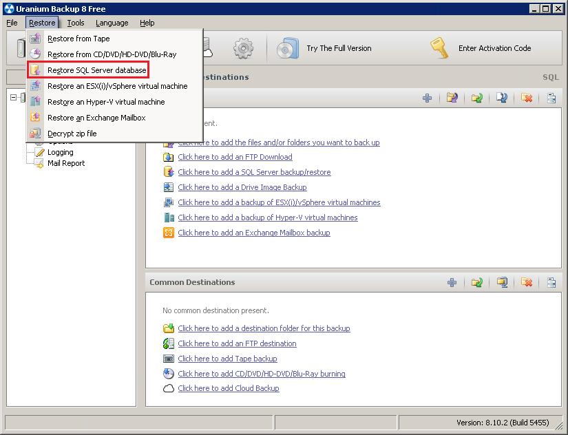 2. Cómo restaurar una base de datos de SQL server