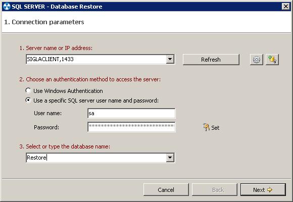 2. Restoring a SQL server database