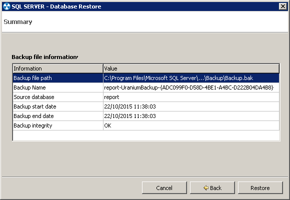 2. Eseguire il restore di un database SQL Server