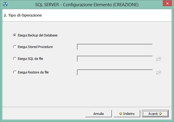 1. Configurare un backup di database Microsoft SQL Server
