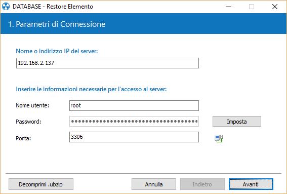 4. Eseguire il restore di un database MySQL / MariaDB