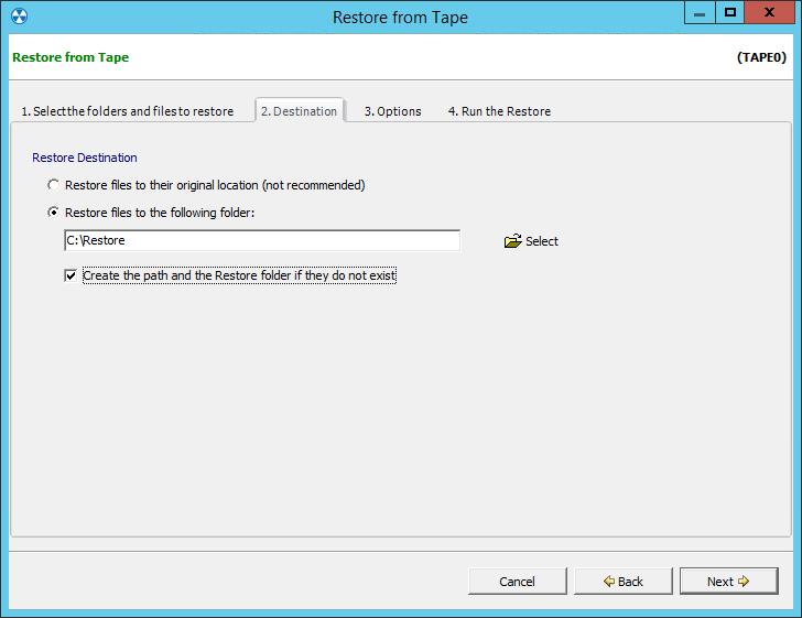 2. Eseguire il restore da un backup su nastro