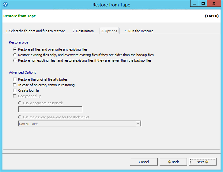 2. Restoring from a tape backup